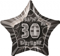 "Glitz 20"" Star Balloon Black & Silver - Age 30"